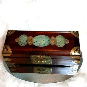 Shangi Vintage Jewelry Box Brass Inlays &Carvings